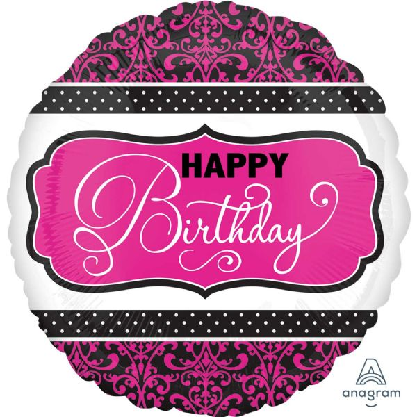 Black, Pink & White Standard Birthday